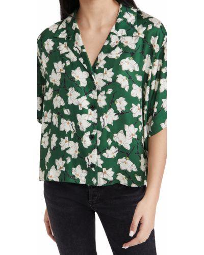 Zielona koszula z jedwabiu w kwiaty Rag & Bone