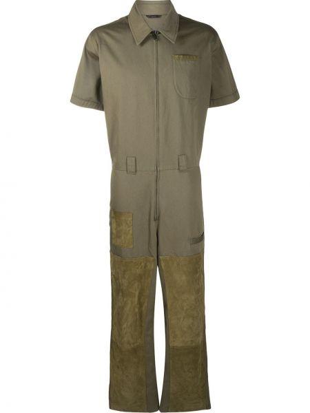 Зеленые кожаные укороченные брюки пэчворк на молнии Fendi