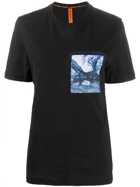 Хлопковая прямая черная футболка с нашивками Raeburn