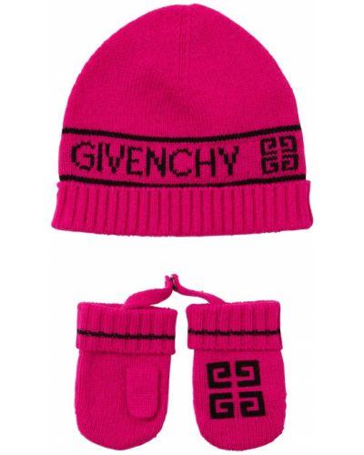 Różowe rękawiczki wełniane Givenchy