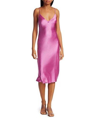 Różowa sukienka midi z jedwabiu z dekoltem w serek Dannijo