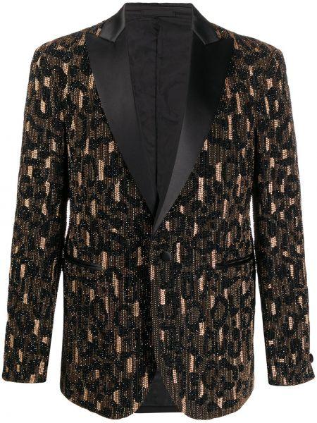 Прямой черный удлиненный пиджак с подкладкой Versace