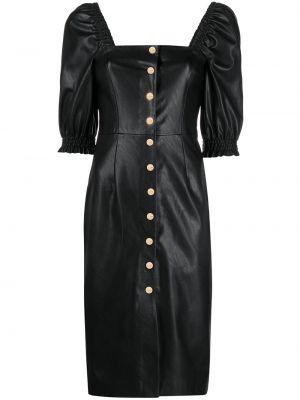 Кожаное с рукавами черное платье миди Pinko