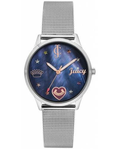 Niebieski zegarek mechaniczny srebrny na co dzień Juicy Couture