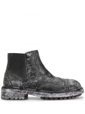 Кожаные черные ботинки челси с перфорацией Dolce & Gabbana