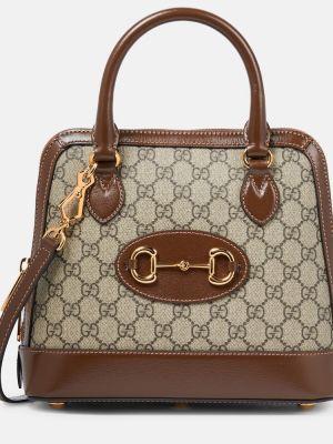 Ватная домашняя хлопковая коричневая сумка-тоут Gucci