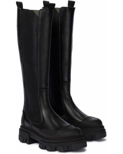 Черные кожаные ботинки до середины колена Ganni