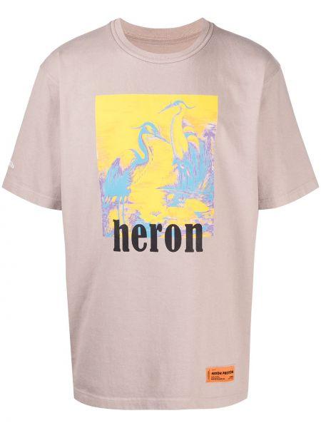 Bawełna czarny koszula krótkie rękawy okrągły Heron Preston