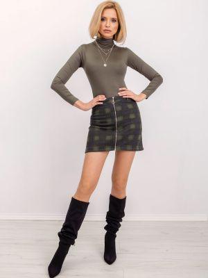 Ciepła spódnica khaki z wiskozy Fashionhunters