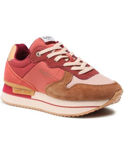 Buty sportowe skorzane - czerwone Pepe Jeans