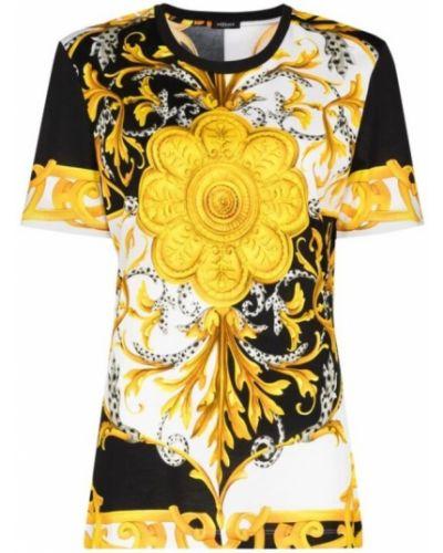 Czarny t-shirt bawełniany krótki rękaw Versace