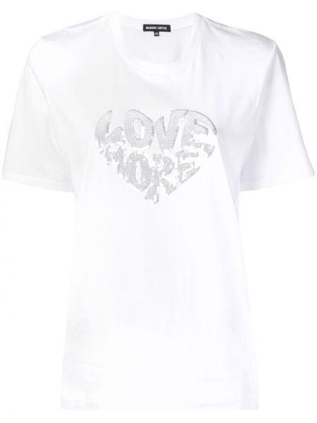 Прямая белая футболка с вырезом Markus Lupfer