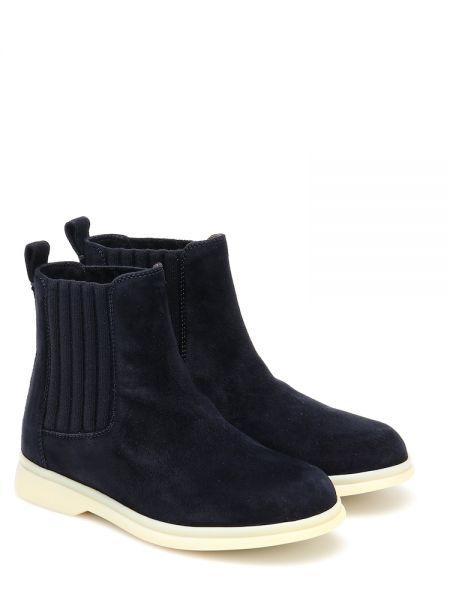 Ciepły niebieski skórzany buty Loro Piana Kids
