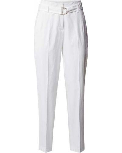 Białe spodnie z paskiem bawełniane Cambio