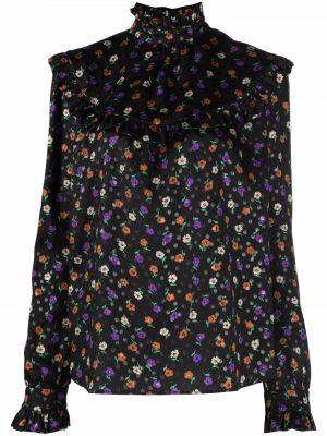 Czarna bluzka z jedwabiu Saint Laurent