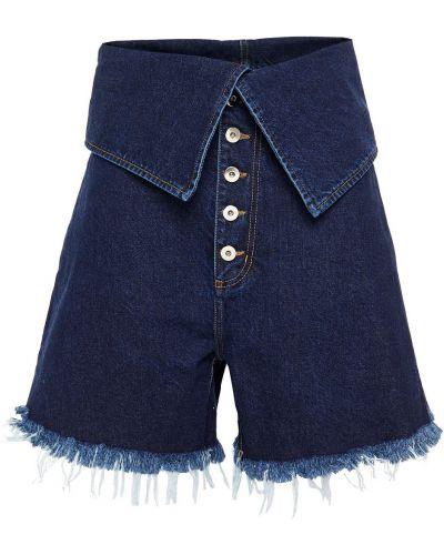 Niebieskie jeansy zapinane na guziki bawełniane Marques Almeida