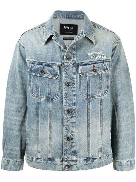 Ватная синяя джинсовая куртка с воротником Five Cm