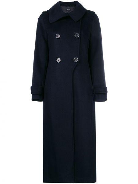 Синее шерстяное пальто на пуговицах двубортное Mackage
