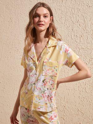 Piżama zapinane na guziki - żółta Trendyol