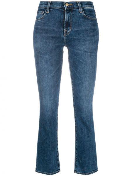 Расклешенные брендовые укороченные джинсы на молнии J Brand