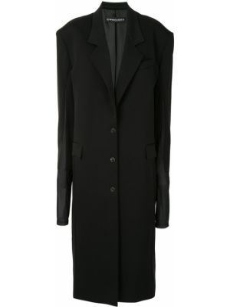 Черное длинное пальто оверсайз с капюшоном Y/project