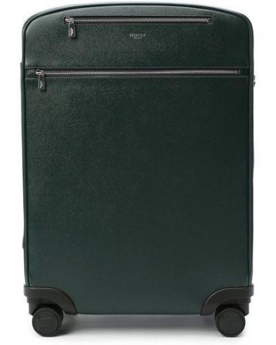 Кожаный чемодан на молнии с карманами Serapian
