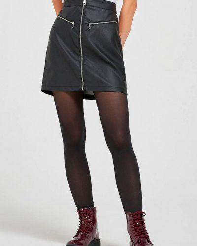 Черная кожаная юбка Terranova