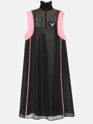 Шелковое платье миди - черное Prada