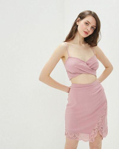 Розовый вязаный юбочный костюм свободного кроя Free People
