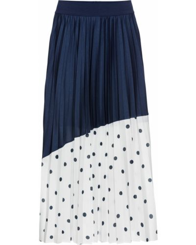 Плиссированная юбка на резинке синяя Bonprix