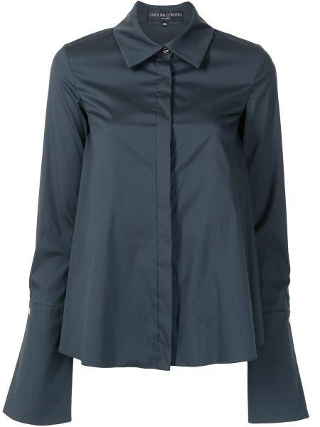Хлопковая синяя с рукавами классическая рубашка Caroline Constas
