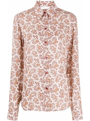 Шелковая розовая классическая рубашка с воротником на пуговицах Chloé