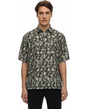Koszula krótkie z krótkim rękawem klasyczna z wiskozy Fendi