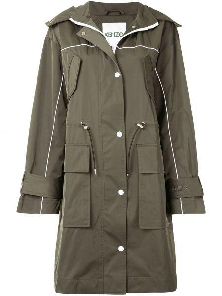 Хлопковое зеленое пальто классическое с капюшоном Kenzo