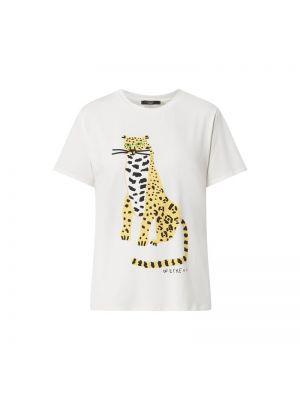 Biały t-shirt bawełniany z printem Weekend Max Mara