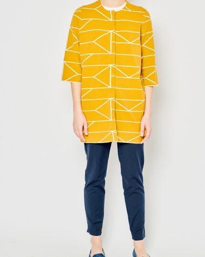 Трикотажное с рукавами желтое пальто Stefanel