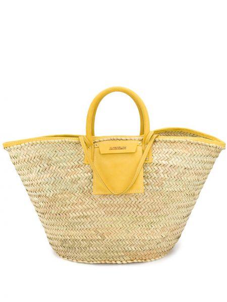 Желтая соломенная сумка-тоут круглая Jacquemus