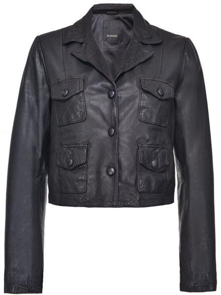 Z rękawami czarny długa kurtka z kieszeniami z prawdziwej skóry Pinko