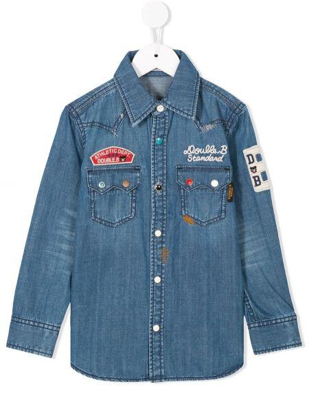 Синяя джинсовая рубашка Miki House