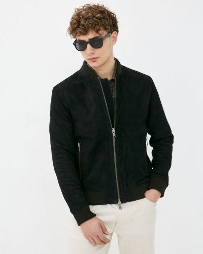 Черная кожаная куртка Selected Homme