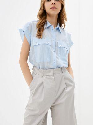 Голубая блузка с короткими рукавами элис