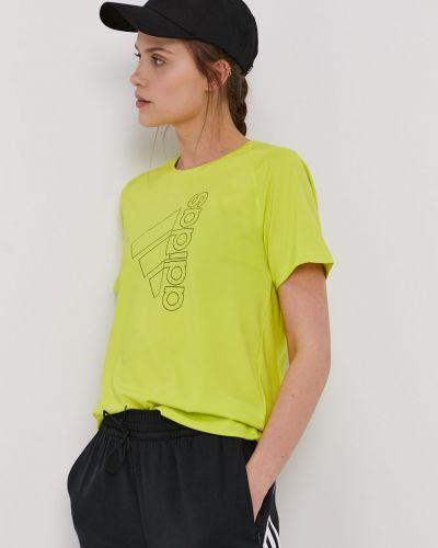 Żółty top sportowy dzianinowy z printem Adidas