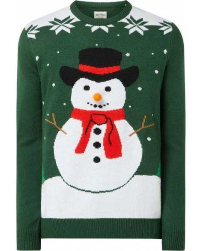 Prążkowany zielony sweter Montego