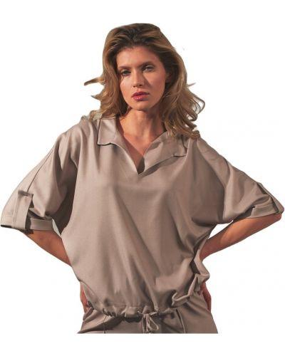 Beżowa bluzka z dekoltem w serek Figl