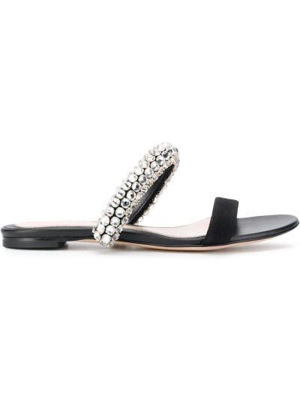 Czarne sandały skorzane Alexander Mcqueen