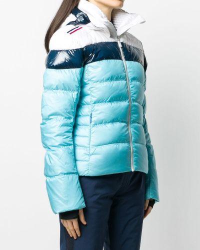 С рукавами синяя длинная куртка с капюшоном Rossignol