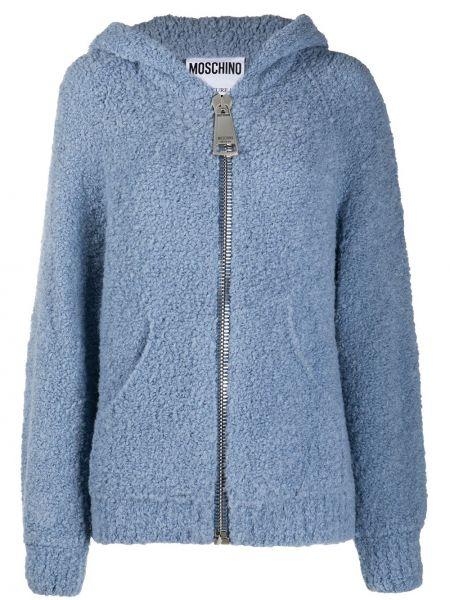 Шерстяная классическая синяя куртка с капюшоном на молнии Moschino