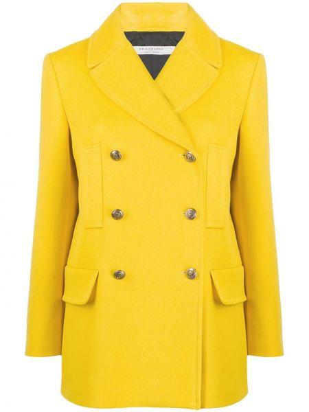 Шерстяной длинное пальто двубортный на пуговицах Philosophy Di Lorenzo Serafini