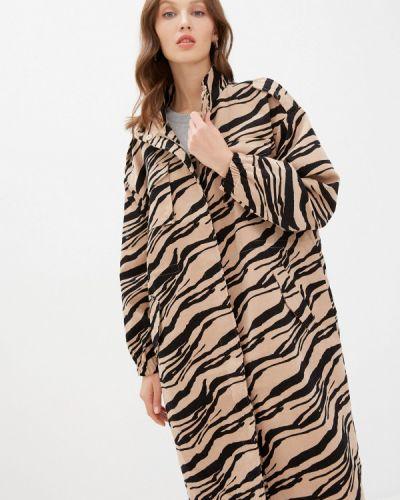 Бежевое пальто Ichi