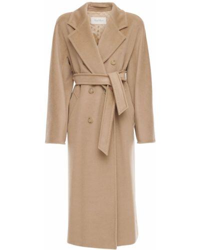 Кашемировое коричневое пальто на пуговицах Max Mara